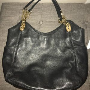 Michael Kors black leather bag w gold hardware